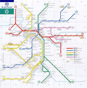 Mapa RER Paris